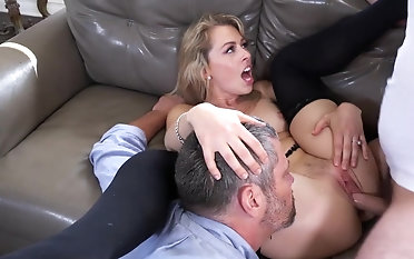 Mind smudged cuckold shag on the chaise longue with Zoey Monroe