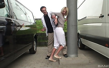 Blonde hottie gets her cunt filled with a monster cock in get under one's car