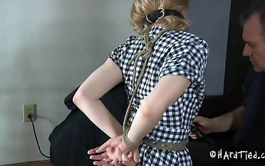 Ball-gagged super-bitch serves orders of a full crank bondage & discipline porno