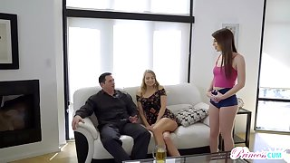 Naughty blond is witnessing her finest mate plowing her step- daddy and listening encircling her shrieks